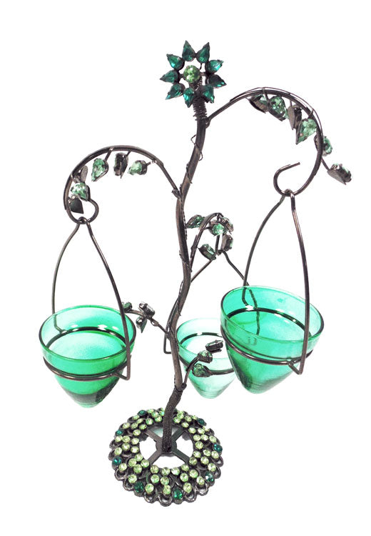 Jeweled 3 Tea Light Tree Lantern