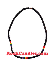 Rainbow Coco Bead Black Necklace