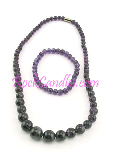 Graduated Amethyst Necklace & Bracelet