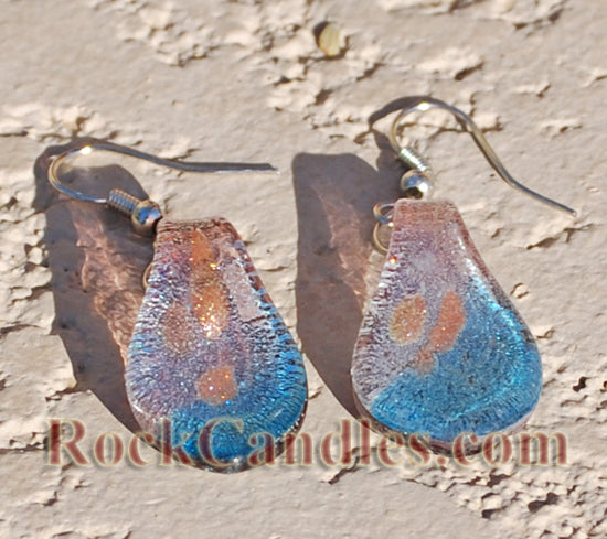 Pink Blue Glass Foil Earrings