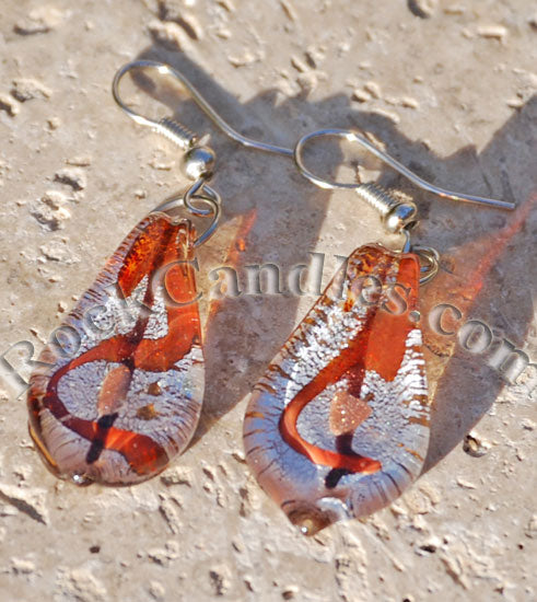 Brown Glass Foil Earrings