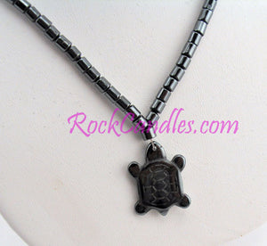 Hematite Necklace with Turtle Pendant