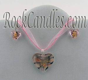 Pink Heart Glass Foil Pendant & Earrings Set