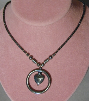 Hematite Necklace -  Circle & Heart Pendant