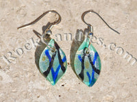 Teal Glass Foil Earrings