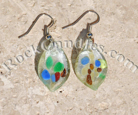Rain Drops Glass Foil Earrings