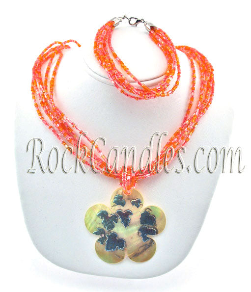 Floral Oyster Shell Set Necklace and Bracelet