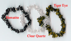 Tiger Eye, Clear Quartz, Hematite Chip Bracelets