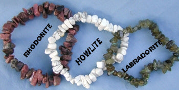 Rhodonite, Howlite or Labradorite Chip Bracelet
