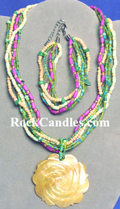 Shell Rose Pendant Necklace and Bracelet Set
