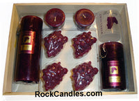 9 piece Burgundy Candle Gift Crate - Closeout