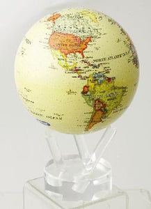 "4.5"" MOVA Globe in Antiqued Beige with Political Map"