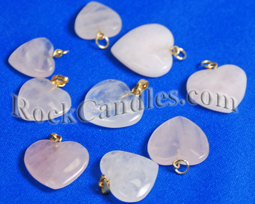 Rose Quartz Pendants - Small Hearts