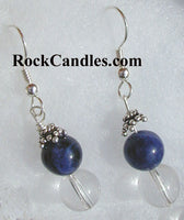 Blue Sodalite Rock Crystal Earrings