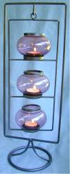 3 Hanging Glass Tea Light Holder