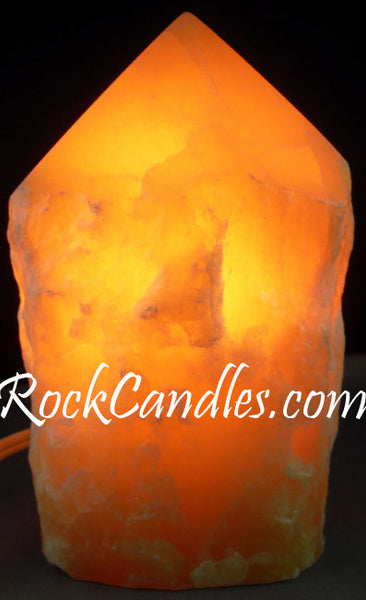 Orange Calcite Top Polished Stone Lamp