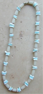 Shell Tube Necklaces - blue & white