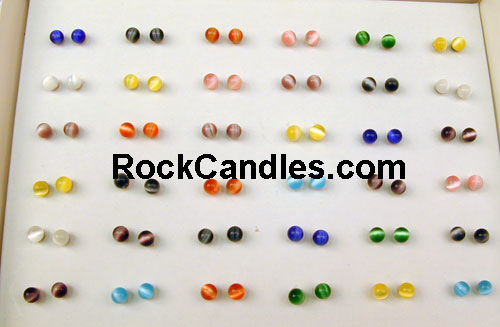 Box of 36 6mm Cats Eye Earings