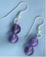 Double Bead Stone Earrings