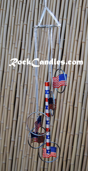 "25""  5 Ring Aluminum American Flag Chime"