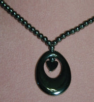 Hematite Necklace with Oval & Heart Pendant