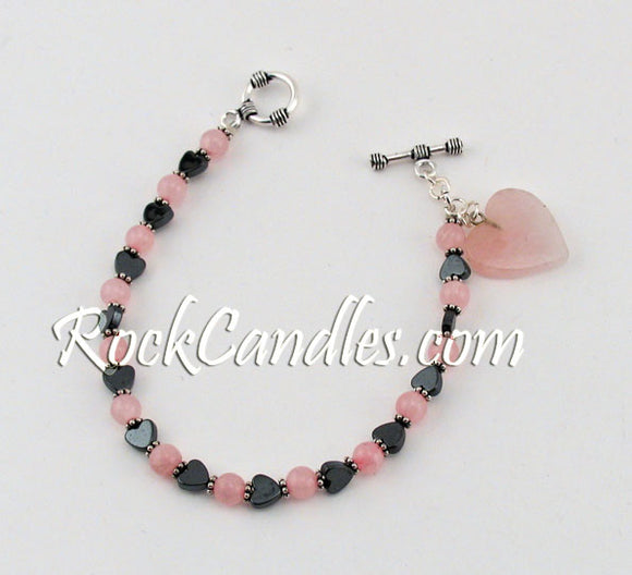 Hematite & Rose Quartz Bracelet , Heart