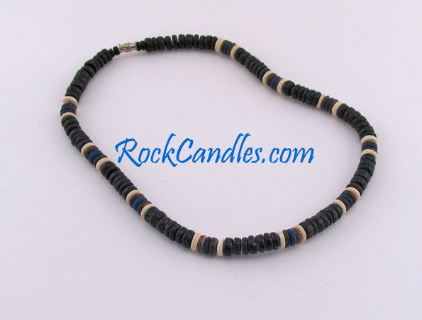 8mm Black Coco Bead w/ Natural Brown & Blue