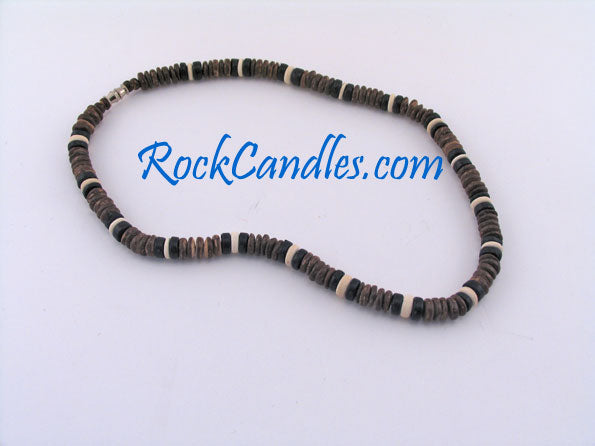 8mm Brown Black & White Coco Necklace