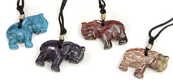 Elephant Gemstone Pendant Necklace Assorted