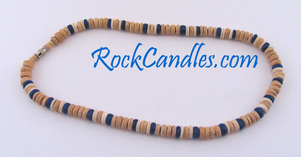8mm Natural w/White & Blue Coco Necklace