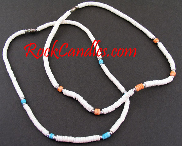 4-5mm White Clam Shell w/ Combi & Silver Beads