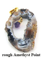 Geode Slice Gold Plated Pendant
