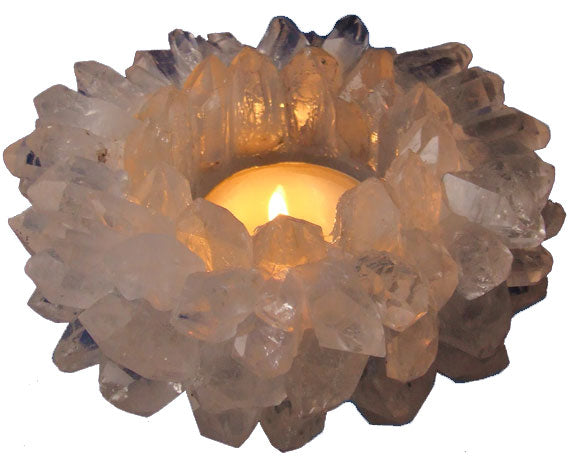 Large Quartz Crown Point Candle Holder