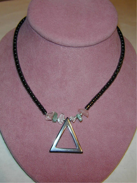 Hematite Triangle Necklace with Chip Stones