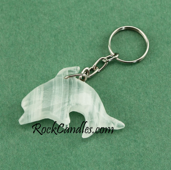 Onyx Dolphin Key Chain