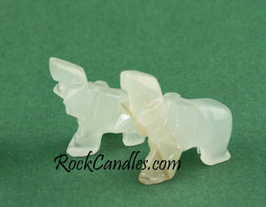 Onyx Elephant Family Carvings 7 Pcs