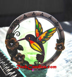 Hummingbird Glass & Metal Candle Holder