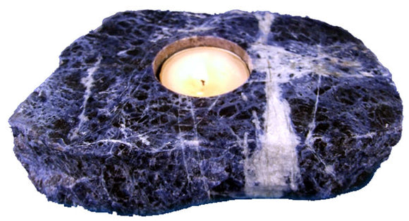 Sodalite Slab Candle Holder