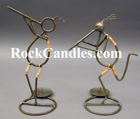 Iron Kokopelli Candle Holder