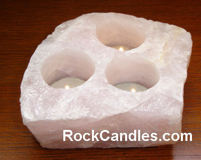 3 Hole Rose Quartz Candle Holder