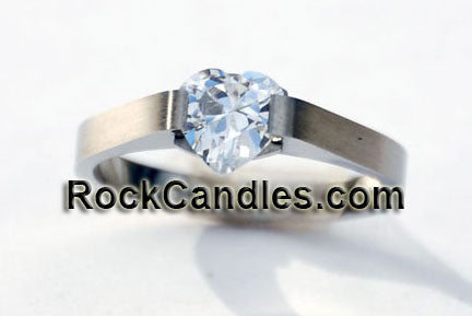 Solitaire Heart Stainless Steel Ring