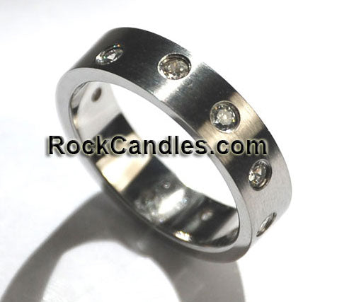 Stainless Steel Waive Cubic Zirconia Stone Ring