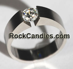Solitaire Stainless Steel CZ Tension Ring