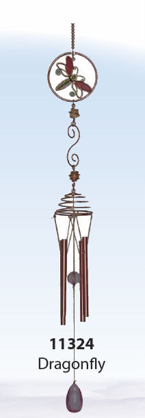 Stained Glass Chime with Dragonfly Top