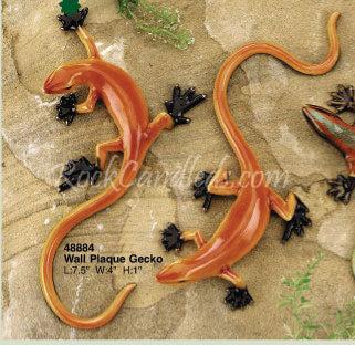 Gecko Orange Wall Plaque Porcelain