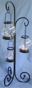 3 Glass Lantern Twist Tea Light Holder