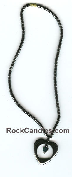 Hematite Necklace with Double Heart Pendant