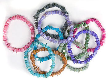 Assorted Dyed Shell Chip Bracelets