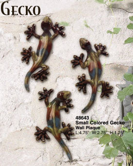 Wall Plaque Colored Gecko Set of 3