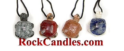 Turtle Pendants Necklace Asst Semi-Precious Stone